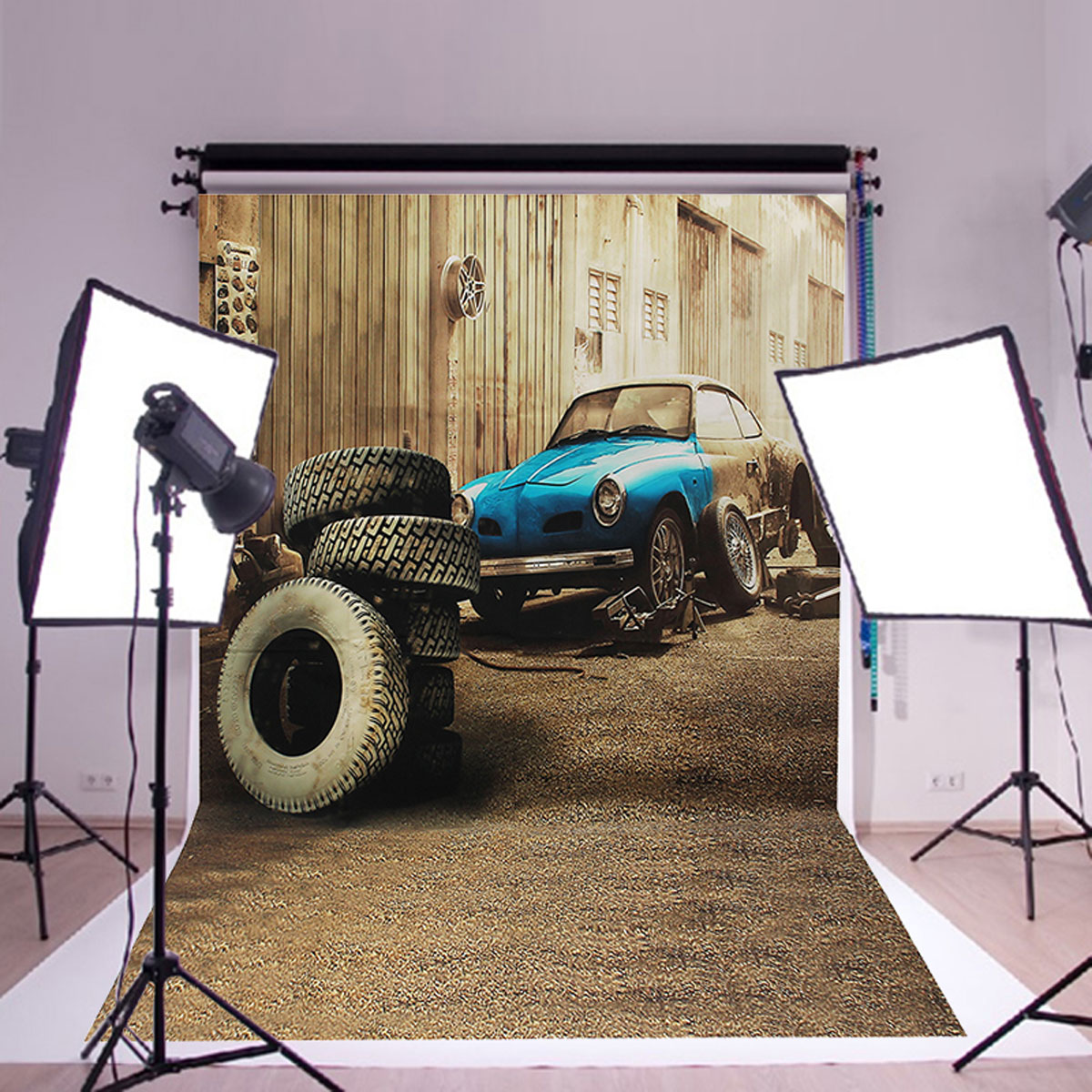 3x5ft Cartier Garage Retro Photo Backdrop Photography