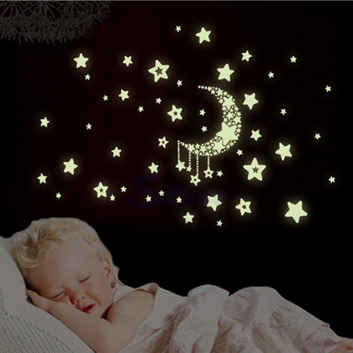 Luminous Star and Moon Creative PVC Wall Sticker Home Decor Mural Art Removable Wall Decals