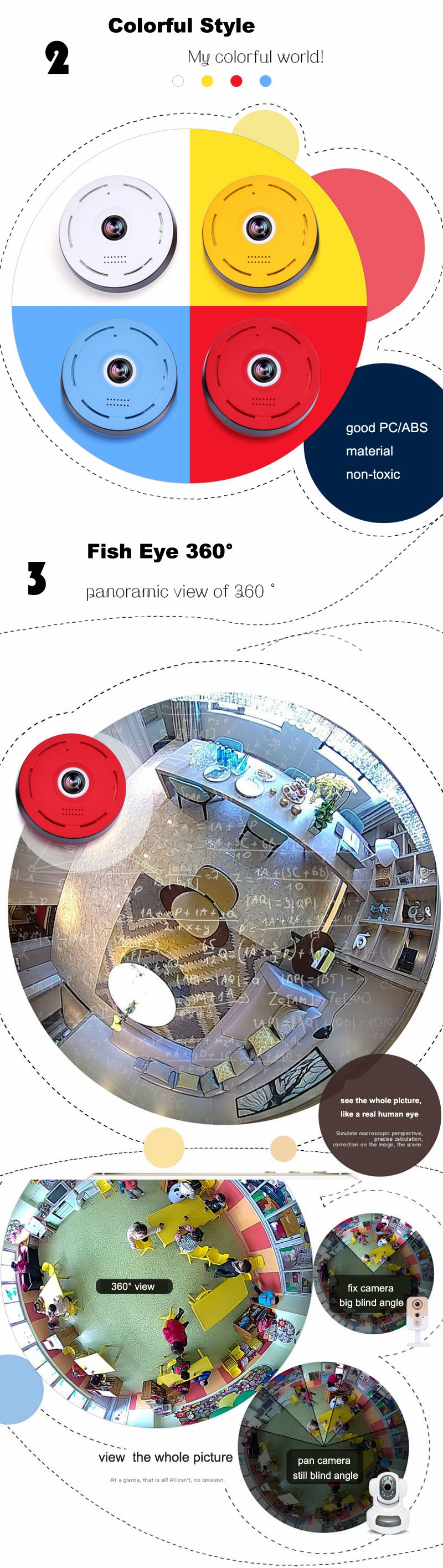 360 Degree Wireless IP Camera Fisheye IR Night Vision 1080P HD Panoramic Surveillance Home Security