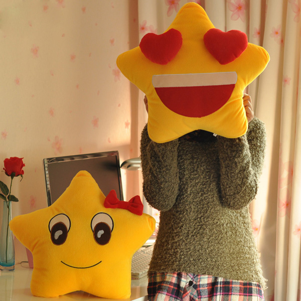 Funny Cute Lovers Yellow Star Throw Pillow Expression S