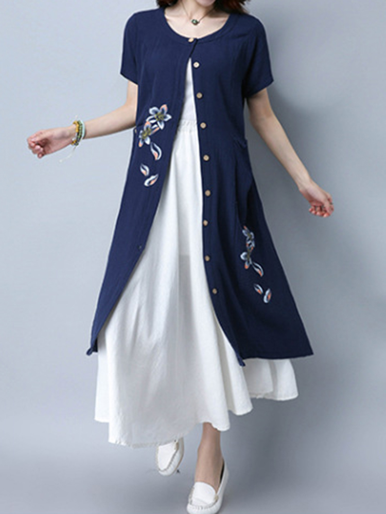 Casual Dresses Korean Style Women Short Sleeve Floral Print Loose Cardigan Buttons Pocket