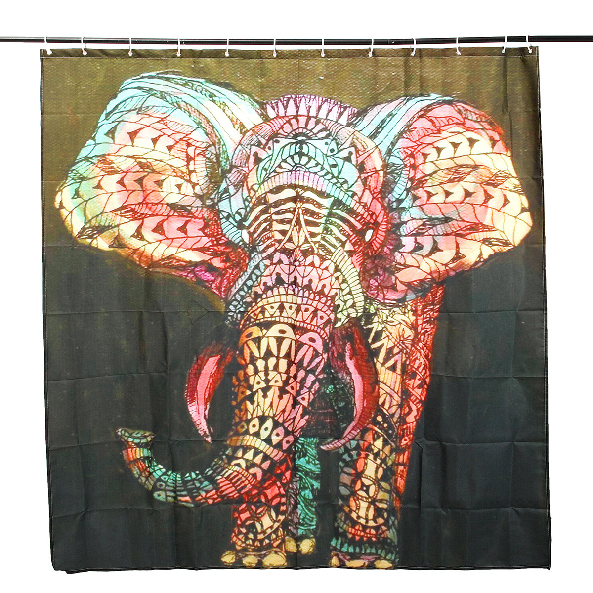 180x180cm Waterproof Colorful Elephant Polyester Shower Curtain ...