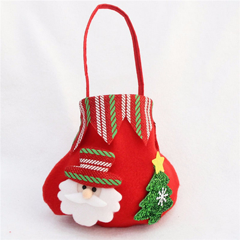 Christmas Candy Bag Santa Claus Snowmen Elk Gift Bag Fruit Candy Storage Bag Decor - Photo: 2