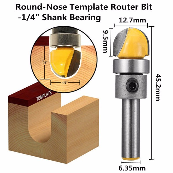 1/4 Inch Shank Bearing Round Nose Template Router Bit