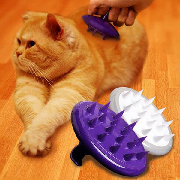 Silicone Pet Dog Massage Grooming Brush Purple Silicone Hair Removal Brush