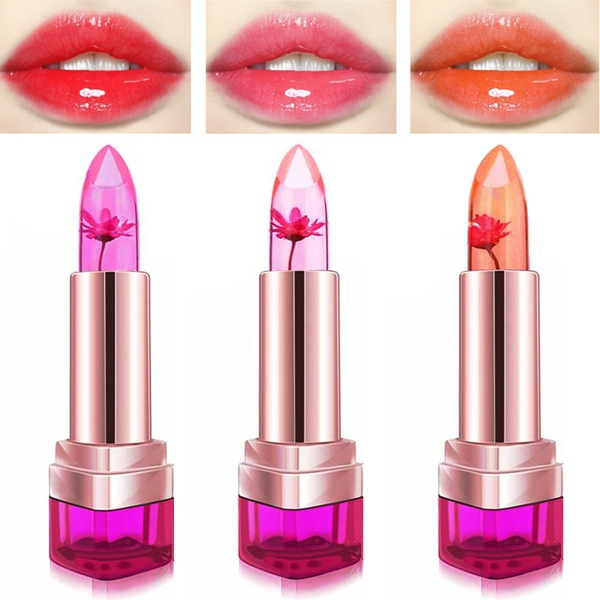3 Colors Jelly Flower Lipstick Temperature Color Changing Lip Gloss Balm Moisturizing Nonstick Makeup