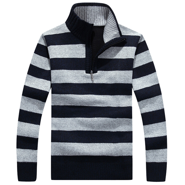 Buy Men Casual Striped Knitted Stand Collar Velvet Plus Sweater Pullovers