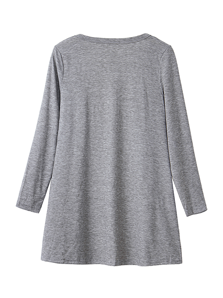 Casual Solid Color Long Sleeve Loose Women Cardigans