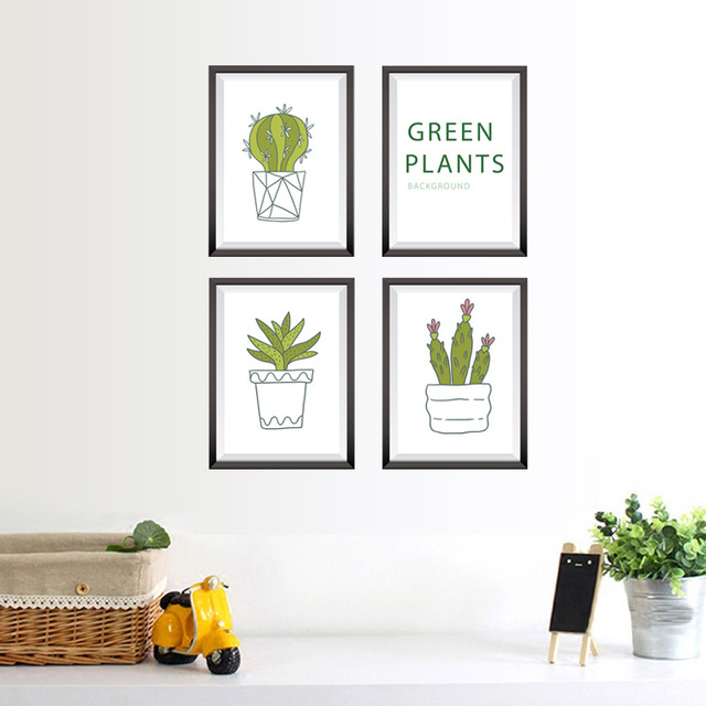 New Plant Potted Bedroom Living Room Corridor Restaurant Background Wall Stickers Decorative Mural Paper Sk7089