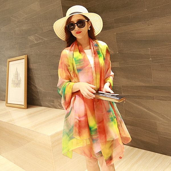 Buy 196*150CM Women Silk Print Floral Soft Long Beach Towel Summer Sunscreen Visor Shawl