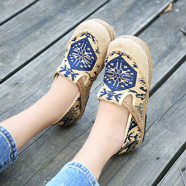Casual Cotton Flax Slip On Loafers Round Toe Soft Sole Outdoor Flat Shoes