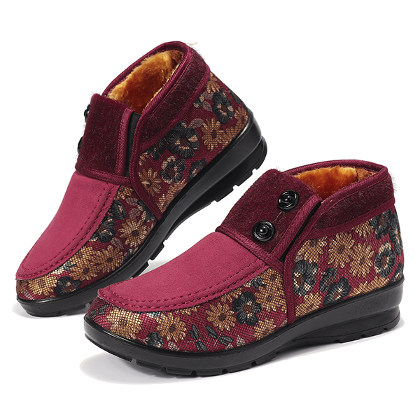 Women Winter Flower Comfy Soft Sloe Fur Lining Snow Boots
