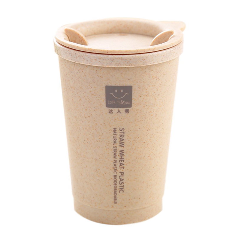 KCASA KC-WHE02 280ML Simple Wheat Fiber Double Layer InsulationMug Student Cup Creative Water Bottle