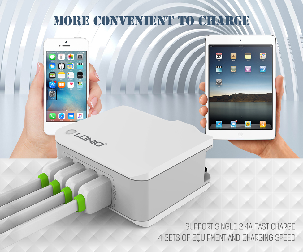 LDNIO 4 USB Ports 4.4A Fast Charging EU UK Plug Wall Travel Charger for iPhone 7 iPad Samsung Xiaomi