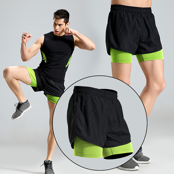 Hit Color Gym Quick-drying Fitness 2 In 1 Running Shorts