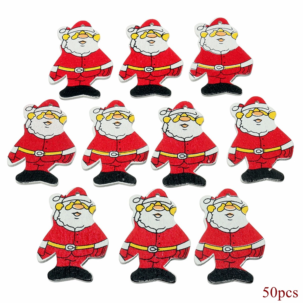 50x Wooden Christmas Father Santa Claus Xmas Tree Ornament Hanging  - Photo: 1