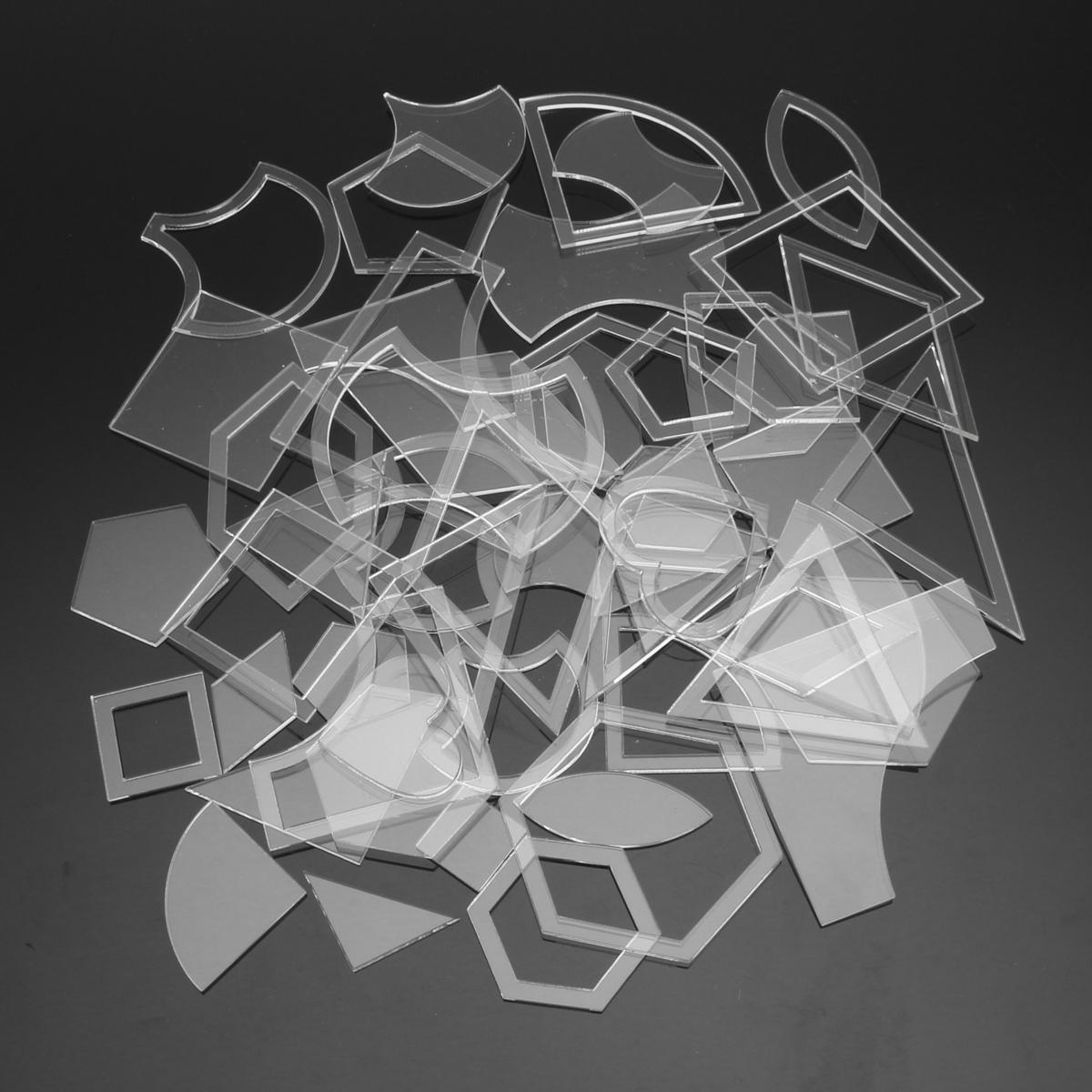 Buy 54pcs Acrylic Quilting Templates Multi Shapes Ruler DIY Sewing ...