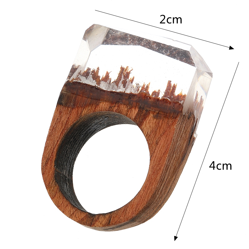 Secret Forest Creative Handmade Snowscape Charm Wood Ring Unique Gift for Men and Women