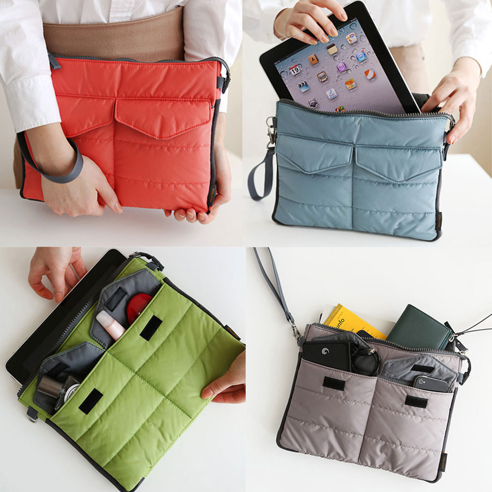 Nylon Multifunctional Shockproof With Zipper Travel Storage Handle Bag for iPad Tablet PC