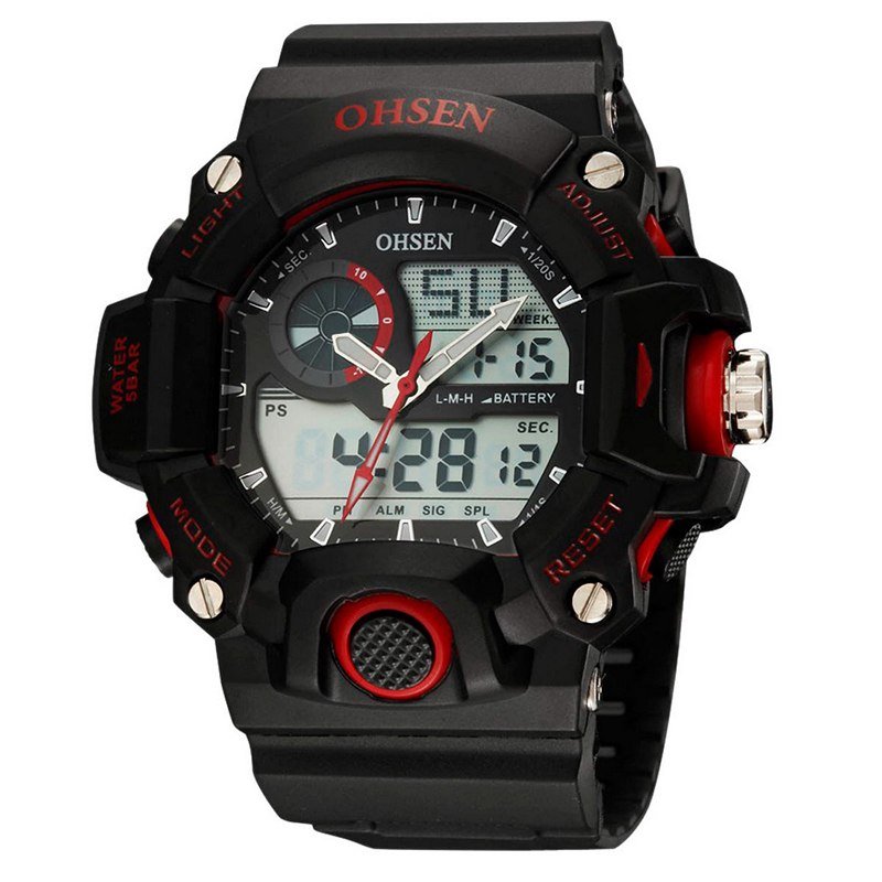ohsen ad2808 sport analog digital watch waterproof army