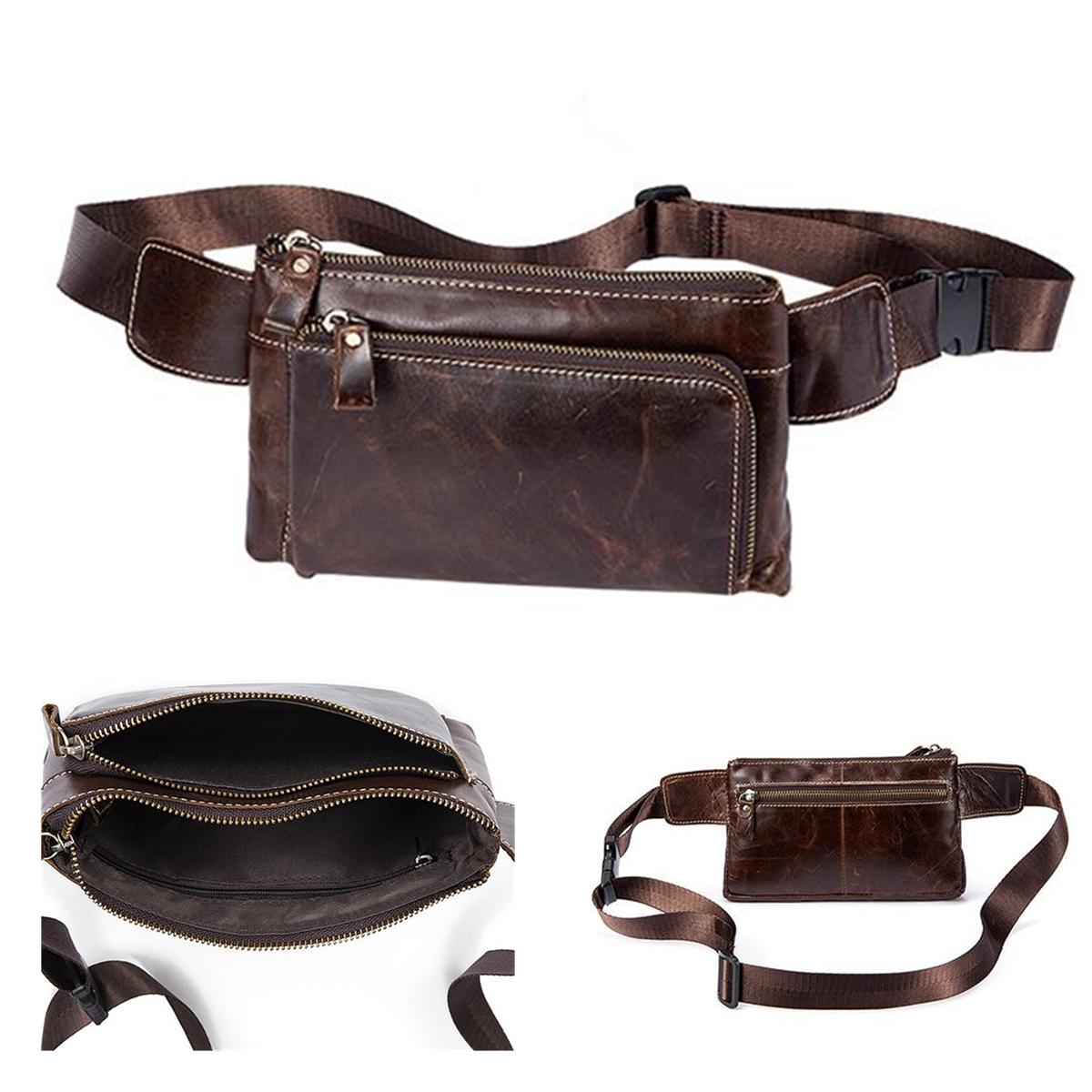 Men Multifunctional Vintage Oil Wax Genuine Leather Waist Bag Phone Case Waist Belt Storage Bag