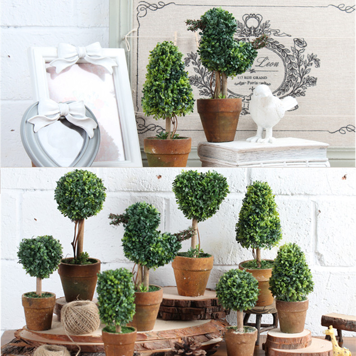 Tree Decor For Home: Artificial Potted Plant Plastic Garden Grass Ball Topiary