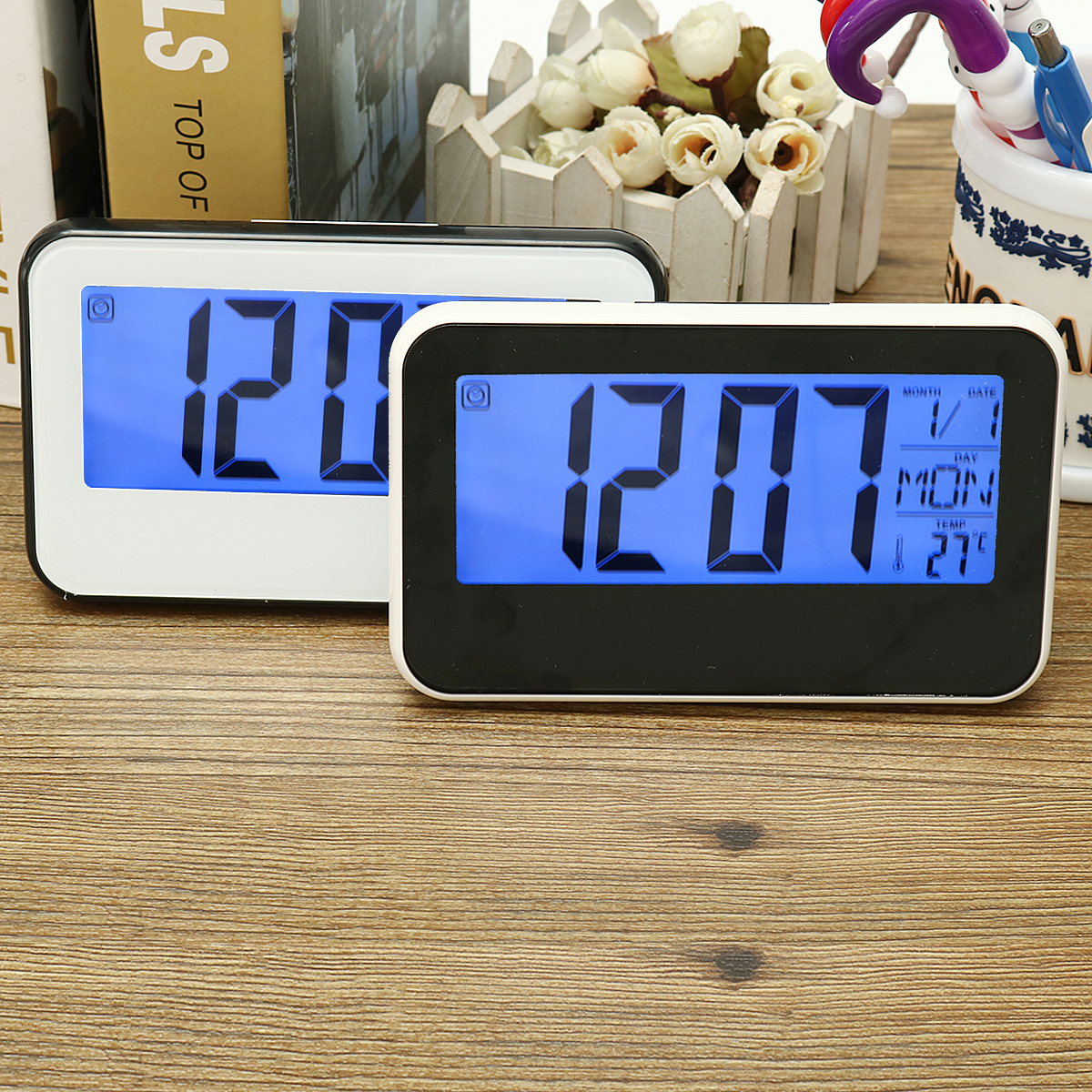 LCD Display Digital Alarm Clock Sound Controlled With T