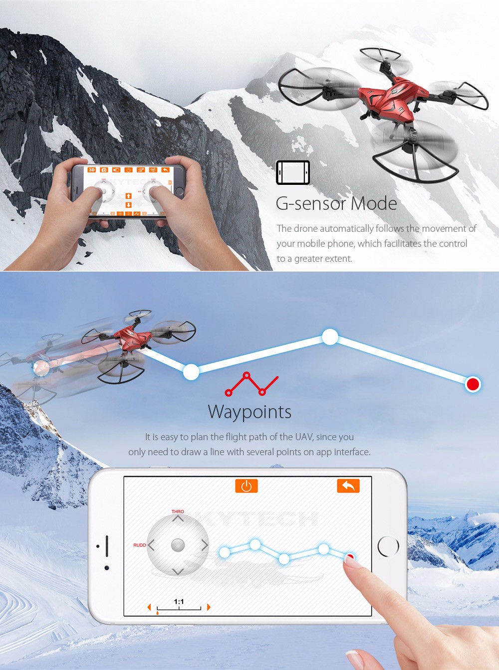 Skytech TK110HW WIFI FPV With 720P HD Camera Foldable 2.4GHz 6 Axis Gyro RC Quadcopter RTF - Photo: 5