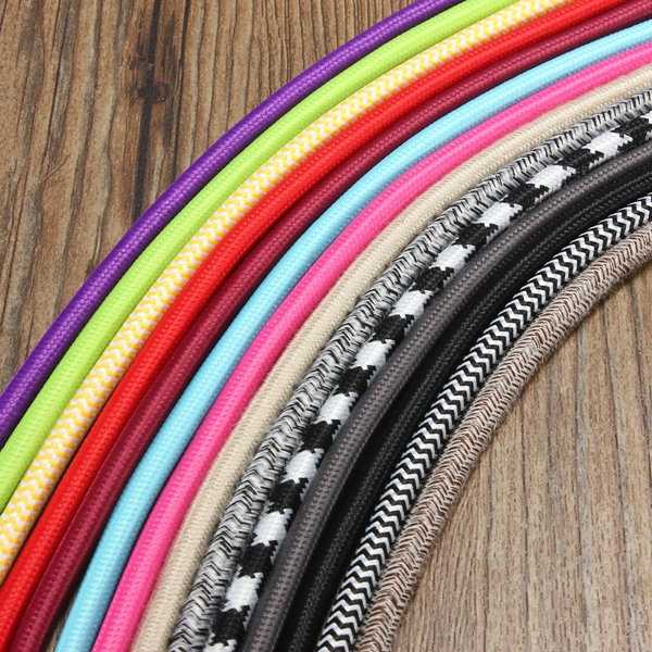 Buy 1M Vintage Colorful Twist Braided Fabric Cable Wire Electric Pendant Light Accessory
