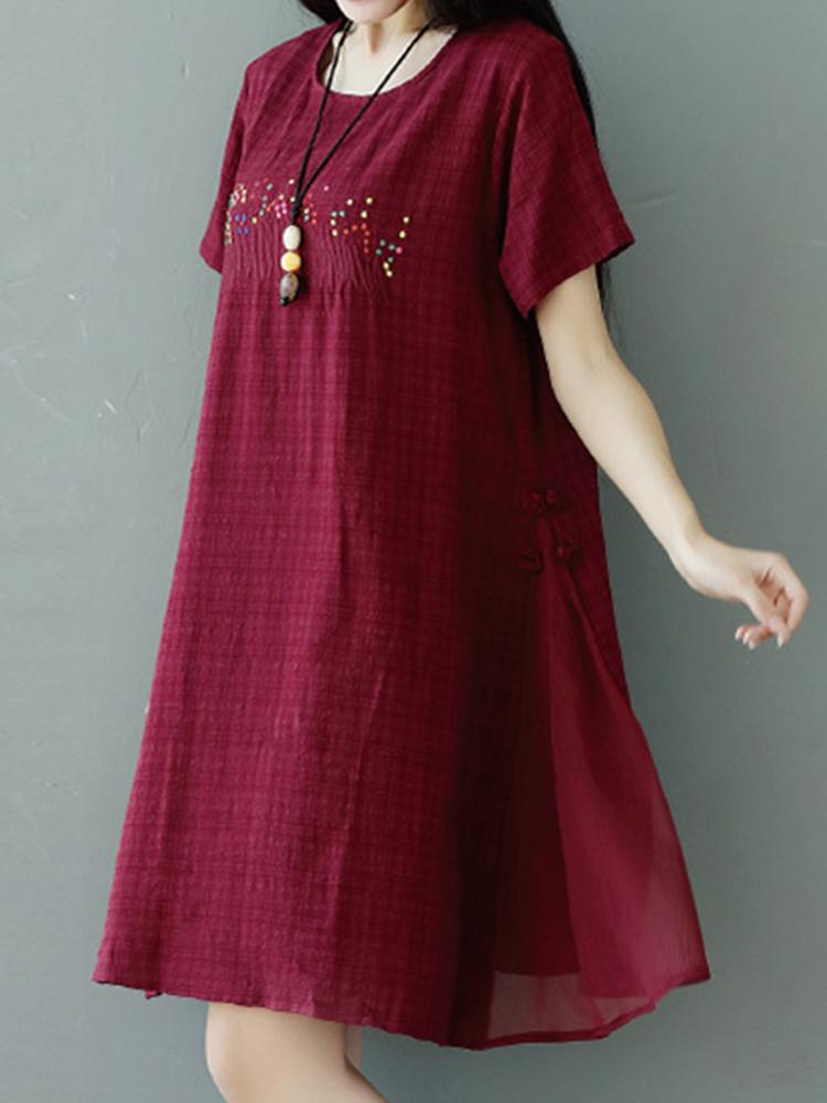 Women vintage embroidered patchwork dresses short sleeve o for Wedding dresses asheville nc