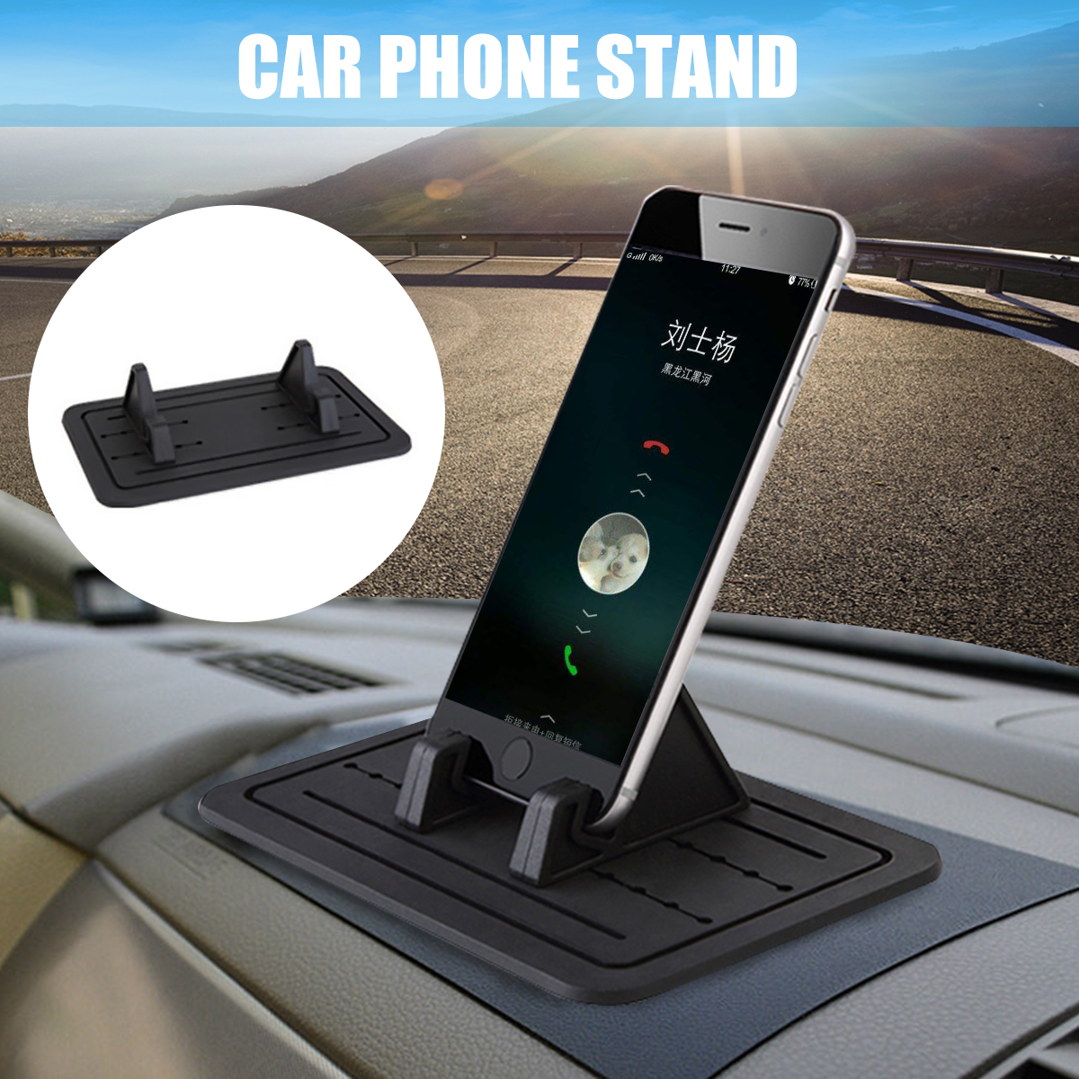 universal car silicon pad dash phone holder mount dashboard stand for iphone samsung xiaomi huawei. Black Bedroom Furniture Sets. Home Design Ideas