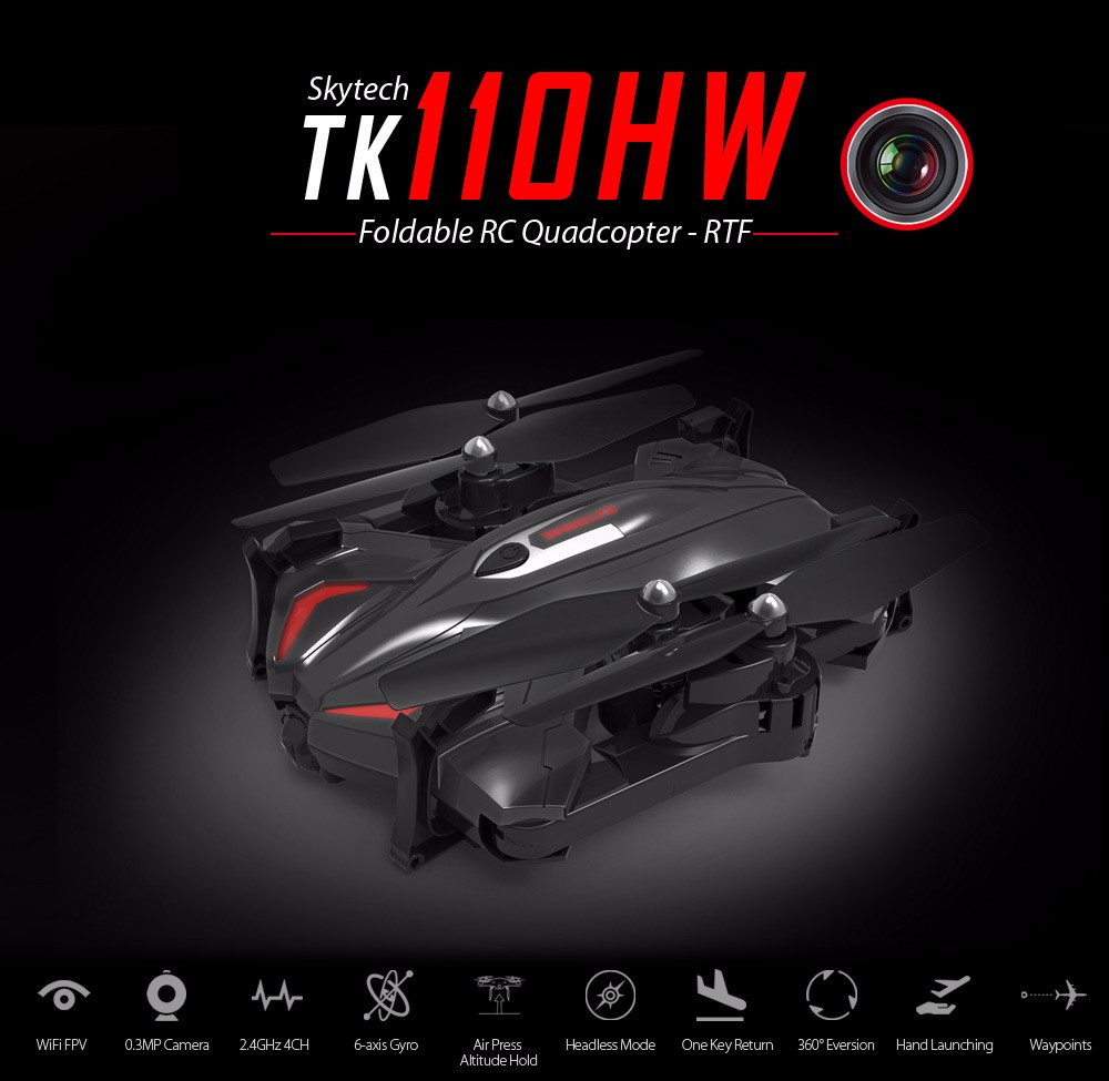 Skytech TK110HW WIFI FPV With 720P HD Camera Foldable 2.4GHz 6 Axis Gyro RC Quadcopter RTF - Photo: 1