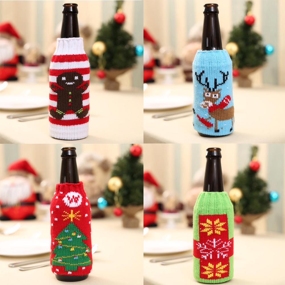 Christmas Snowman Deer Knitting Stockings Candy Gift Bags Beer Wine ...