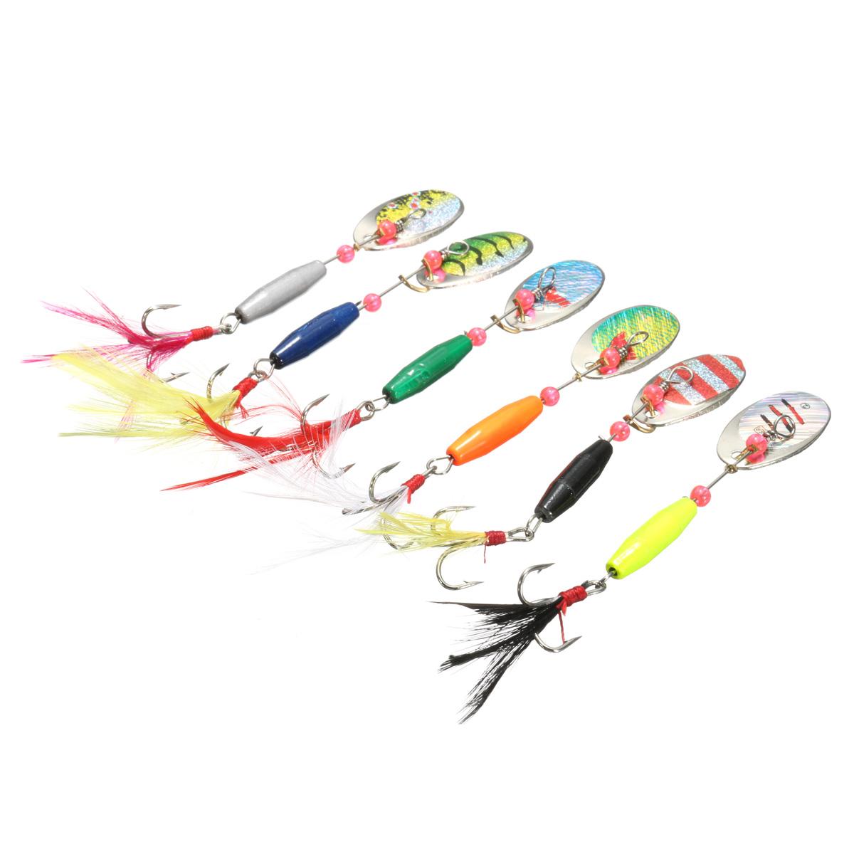 ZANLURE 6PCS 9CM Spoon Metal Fishing Lures Spinner Baits CrankBaits Hooks Baits Tackle Tools (Eachine1) Amarillo Продажа б у