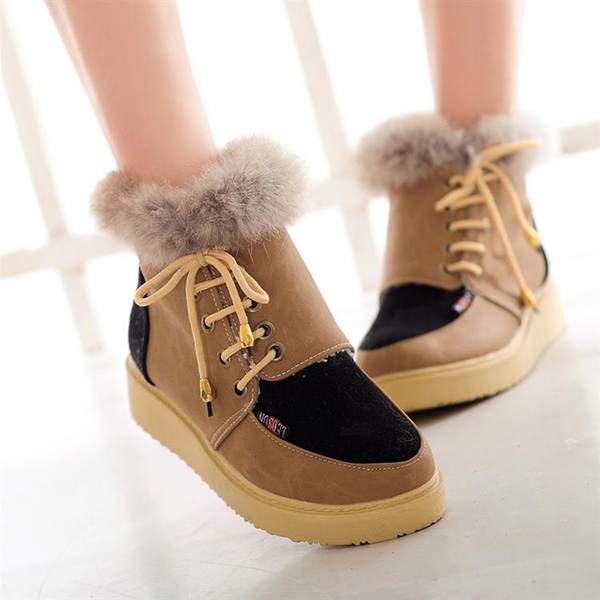 Winter Lace Up Flats Fur Lining Keep Warm Cotton Ankel Snow Boots