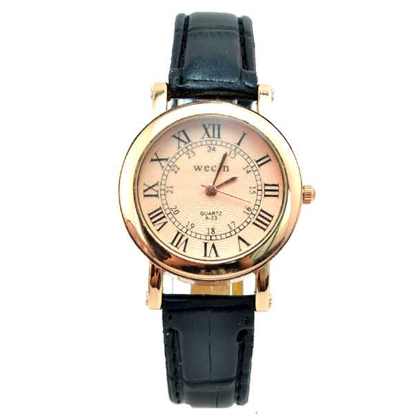 Wecin 0009 PU Leather Roman Number Analog Quartz Couples Watch