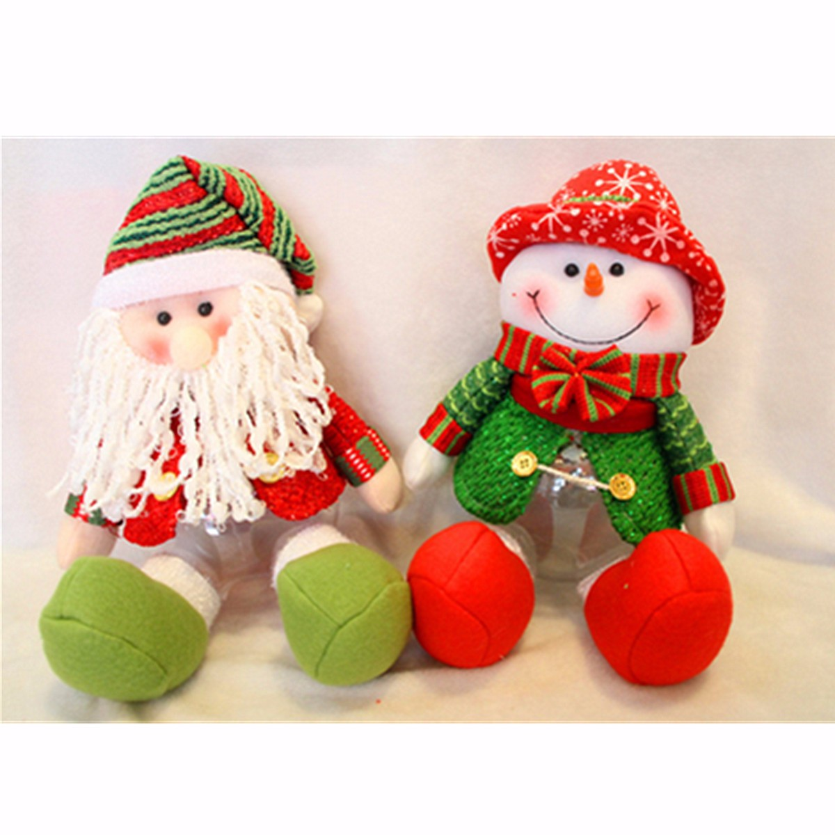 Lovely Snowman Santa Claus Candy Round Jar Bottle Christmas Kid Toy Doll Gift Decor - Photo: 2