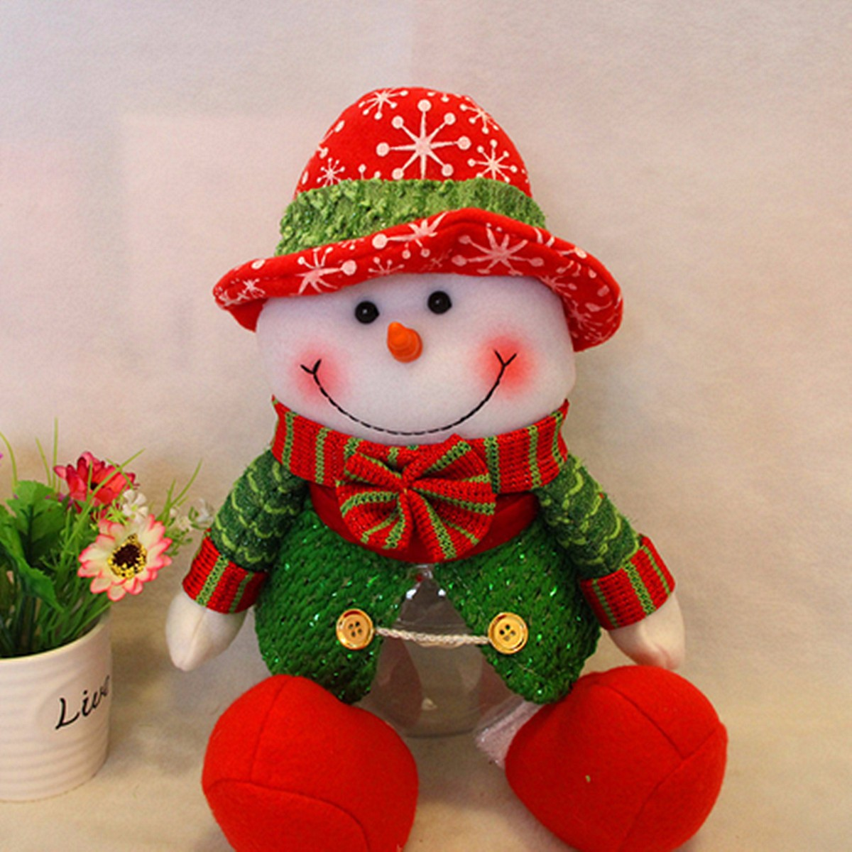Lovely Snowman Santa Claus Candy Round Jar Bottle Christmas Kid Toy Doll Gift Decor - Photo: 5