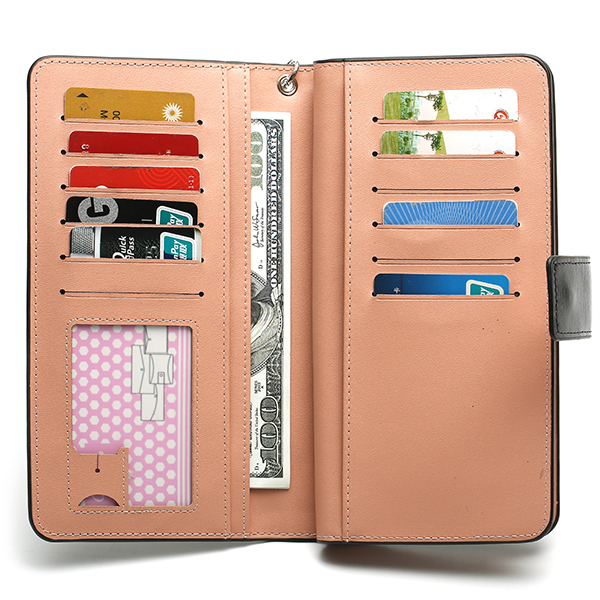 6 Inches Cell Phone Women 12 Card Slots Cell Phone Wallet PU Leather Credit Card Wallet