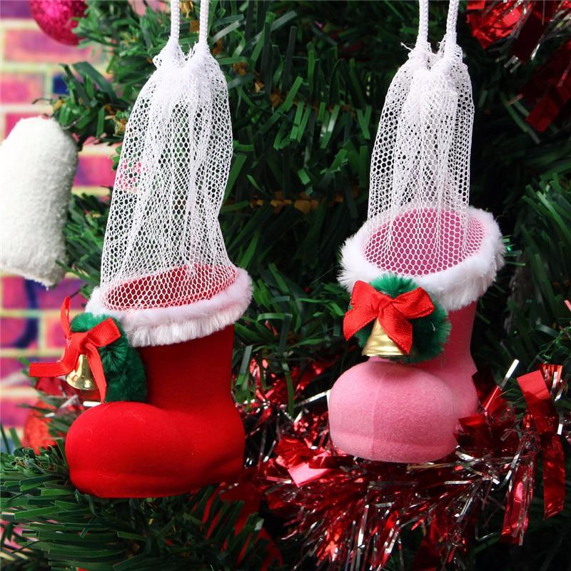 Xmas Santa Boot Shoes Stocking Christmas Tree Decoration Hanging Candy Gift - Photo: 2