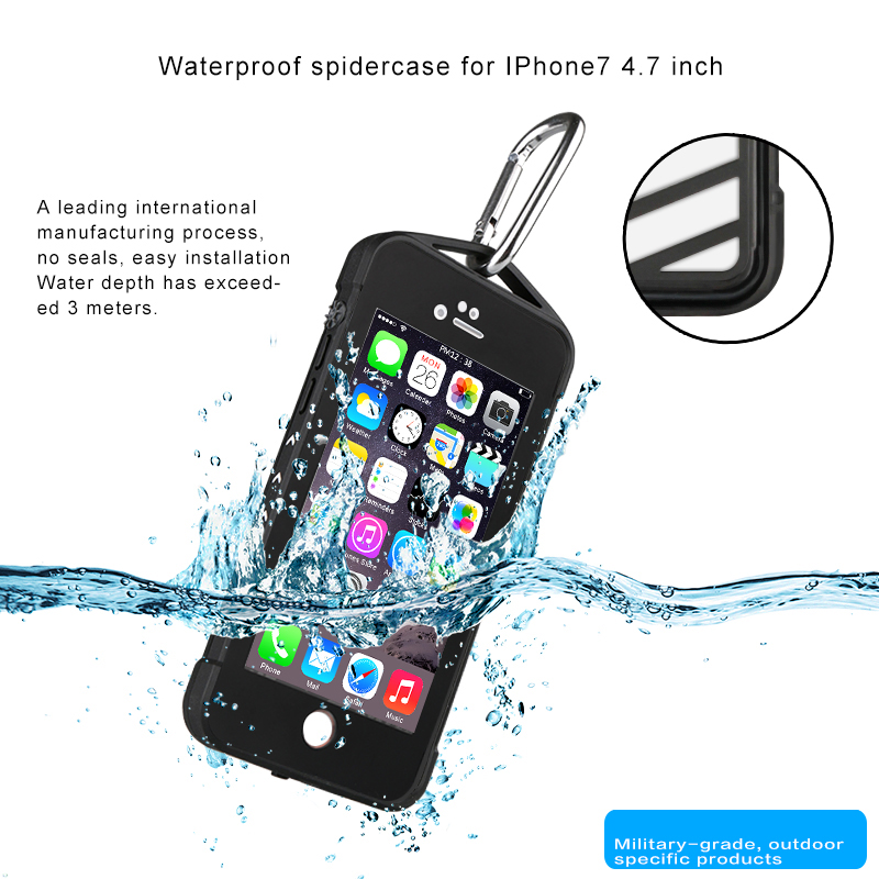 Buy IP68 9.8 Feet 3 Meters Waterproof Outdoor Climbing Spider Web Anti-drop Case For iPhone 7