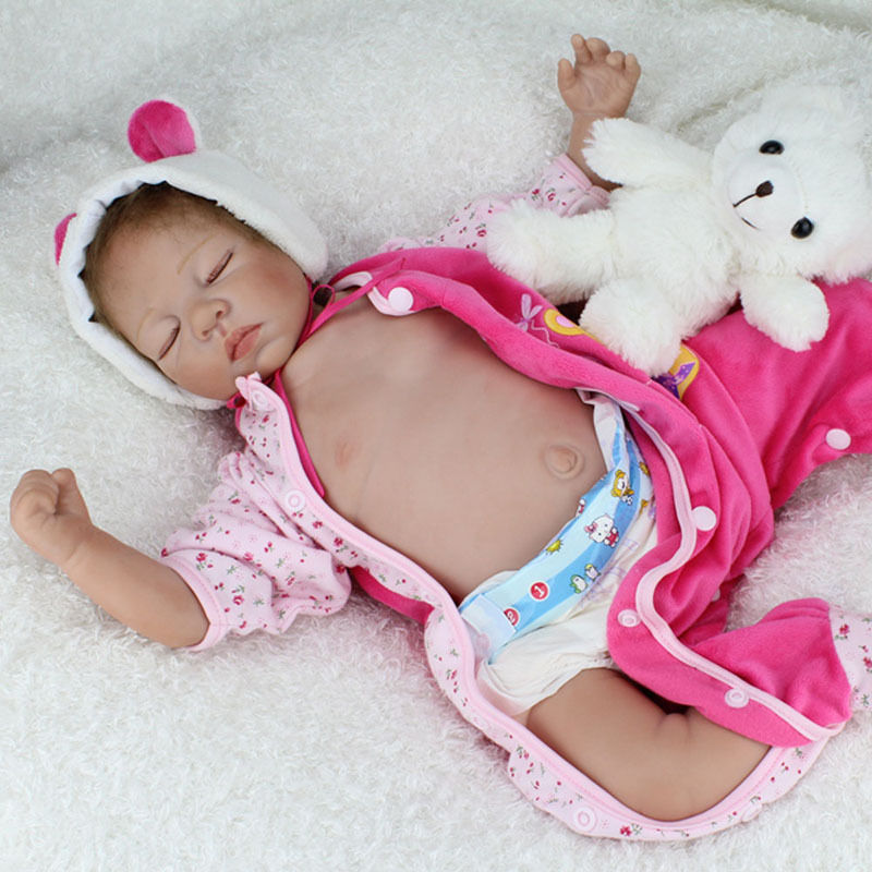 22'' Handcraft Cute Realistic Reborn Newborn Baby Happy Boy Dolls Silicone Toys