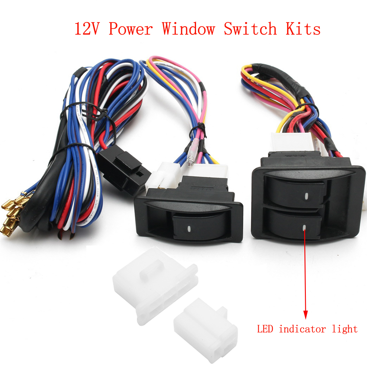 6pcs 12v Universal Power Window Switch Kits With Installation Wiring Harness on universal power window wiring diagram for 4 doors