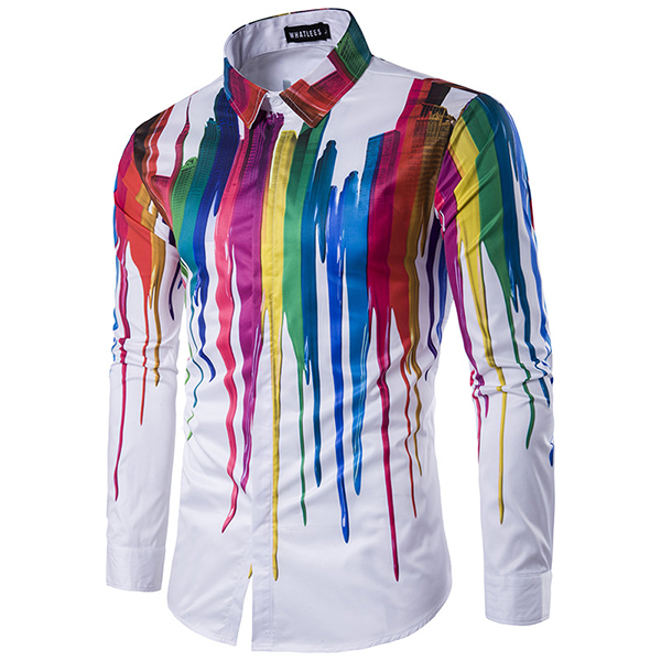 Buy Mens Colorful Personalized Ink 3D Printing Turn-down Collar Long-sleeve Fashion Casual Shirt