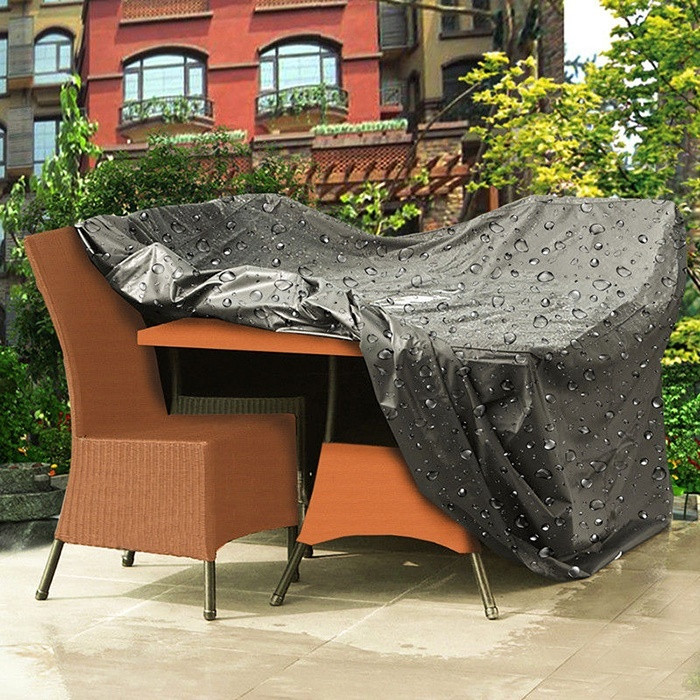 Buy 2 Size Black Polyester PVC Waterproof Sofa Couch Table Cover Outdoor Garden Home Furniture Decor