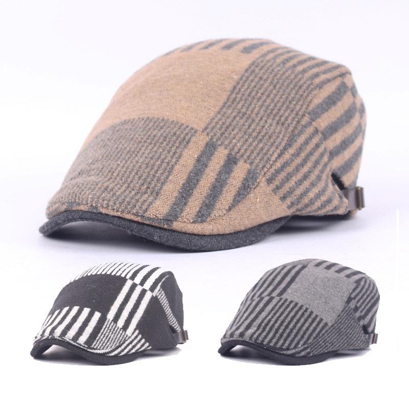 Buy Unisex Woolen Stripe Beret Hat Belt Buckle Adjustable Paper Boy Newsboy Cabbie Gentleman Cap