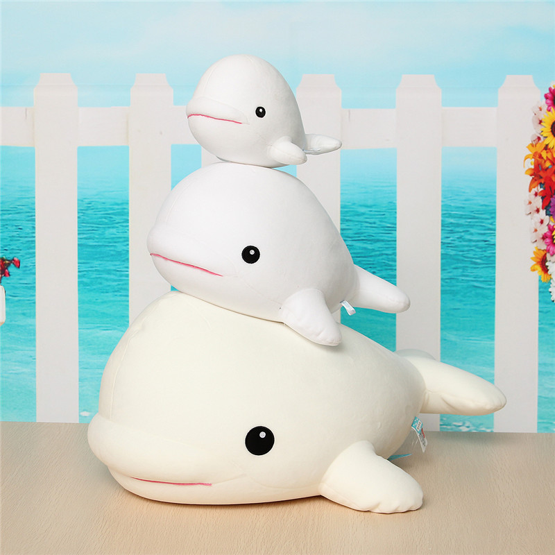 1PCS Cute Beluga White Whale Soft Animal Doll Ornament Stuffed Plush Toy Decor - Photo: 3