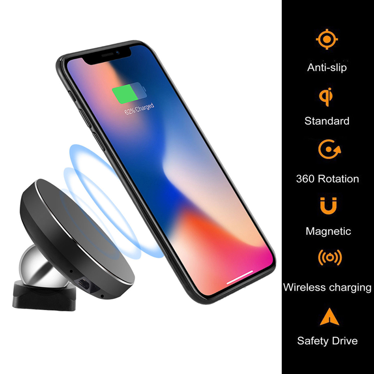 Magnetic wireless car charger air vent phone mount holder 5
