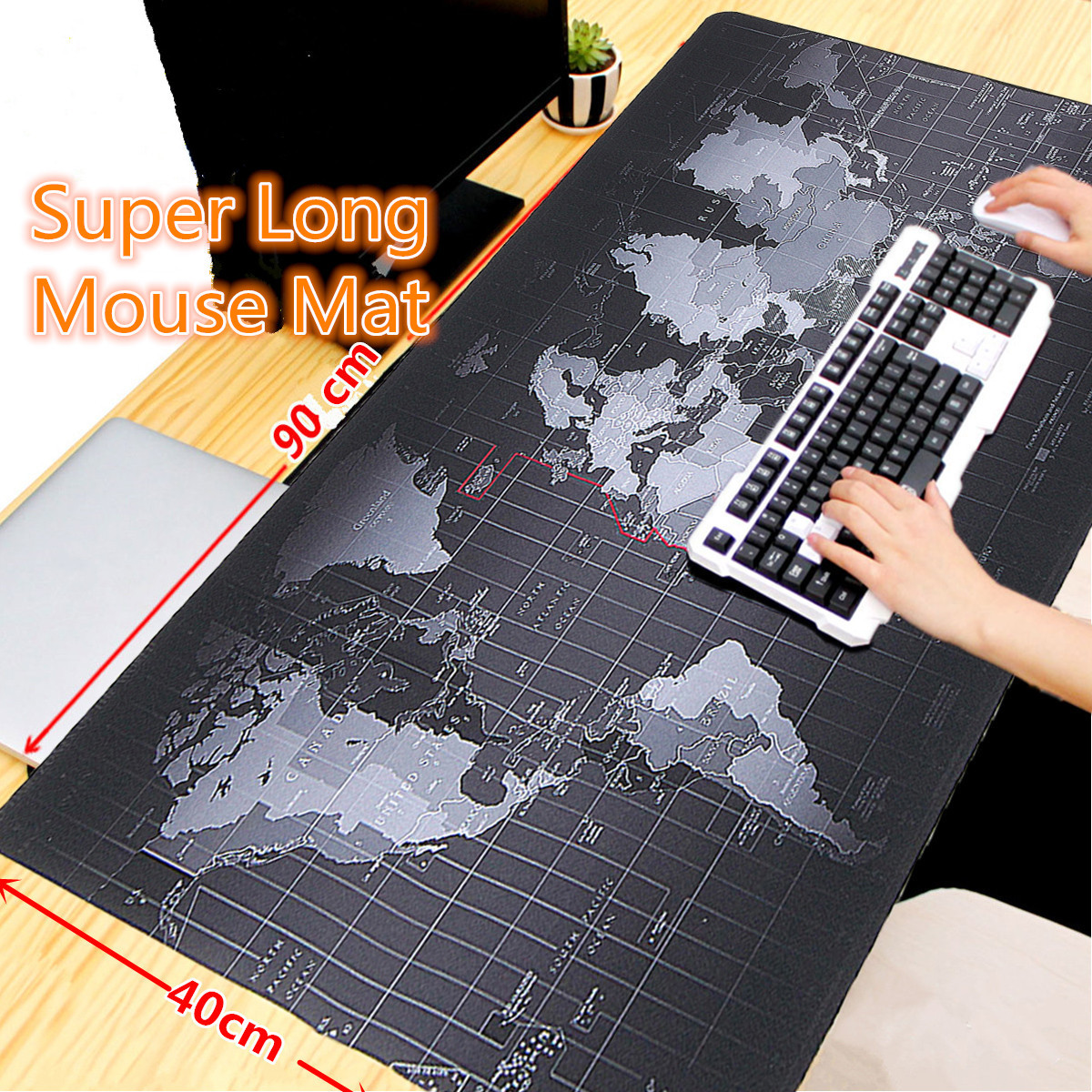 900x400x2mm Large Size World Map Mouse Pad For Laptop