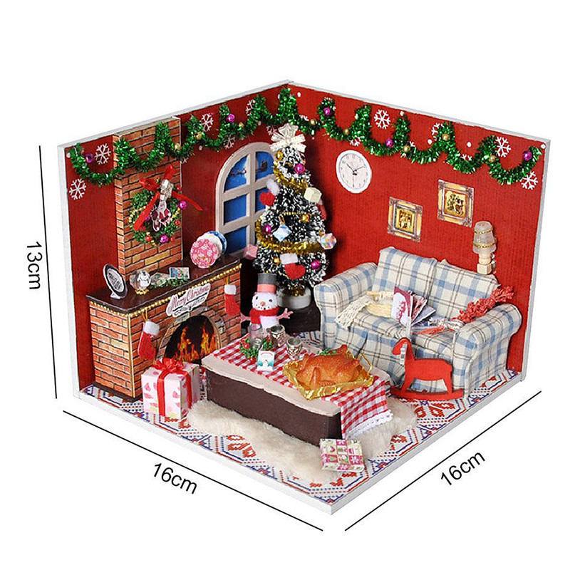 Wooden Dollhouse Furniture Kits Led Light Miniature